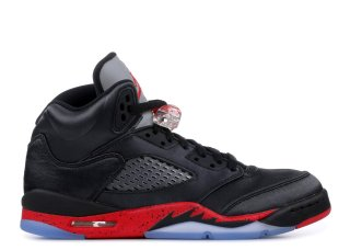 Offert Air Jordan 5 Retro (Gs) 'Satin' Noir Rouge (440888-006)