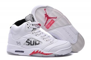 Offert Air Jordan 5 Blanc Rouge Enfant